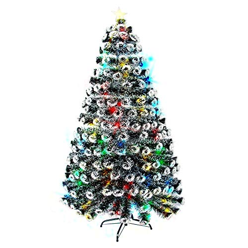 GEX Christmas Tree Prelit 6ft with Lights Multi-Color Artificial Dark Green with White Edge Pine Tree with Stand (6ft)