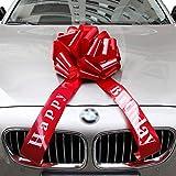 Vindar Car Bow Riesige Große Rote Schleife für Auto Geburtstag Geschenk Happy Birthday Geschenkverpackung Car Ribbon Bow für Fahrrad Dekoration (Red Happy Birthday)