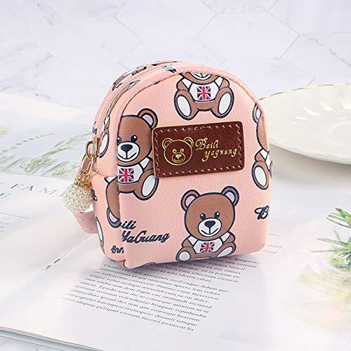 weichuang FUDEAM - Monedero de piel con diseño de oso de dibujos animados, mini llavero con cremallera ovalada, monedero, lápiz labial, cable USB, para auriculares, monedero (color: rosa)