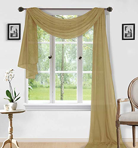 """Sapphire Home 1pc Window Sheer Voile Scarf Valance, Decorative Sheer Valance for Window Home Decor, Solid Color, Valance (54""""x216"""") Gold"""