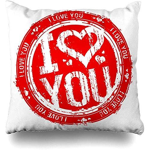 Kussenhoezen Rood Valentijn Liefde Je Stempel Tekst Dag Tattoo Viering Kopie Kussensloop 45 x 45 cm Kussensloop set van 2