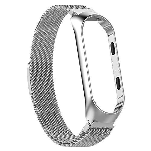 Depory Correa de Reloj de Pulsera de Correa Ajustable de Acero Inoxidable, con Marco, para Xiaomi MI Band 3,Plata