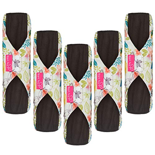 Sanitary Reusable Cloth Menstrual Pads by Heart Felt. 5 Pack Washable Natural Organic Napkins with Charcoal Absorbency Layer. Overnight Medium Panty Liners for Comfort Support and Incontinence