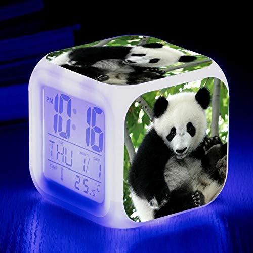 fdgdfgd El Reloj de Panda Animal ms Popular con 7 Colores de Nueva luz de Alarma LED, Reloj Despertador Digital con Fecha de termmetro