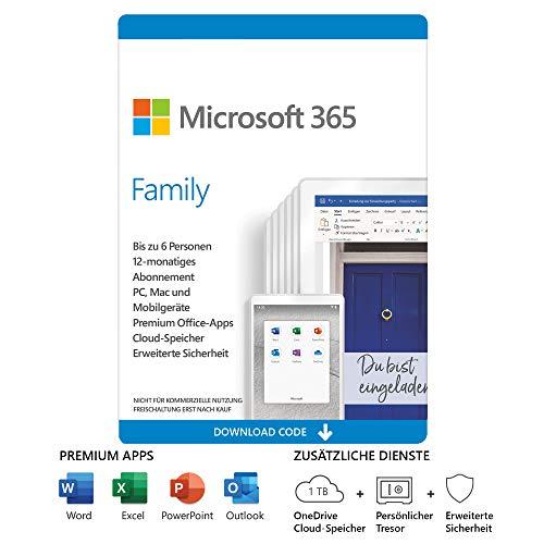 Microsoft 365 Family | 6 Nutzer | Mehrere PCs/Macs, Tablets und mobile Geräte | 1 Jahresabonnement