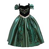Lito Angels Disfraz de princesa Anna Coronation para niñas pequeñas, Halloween, Navidad, cumpleaños, fiesta, fiesta, fiesta, verde, 4 a 5 años, color verde 286
