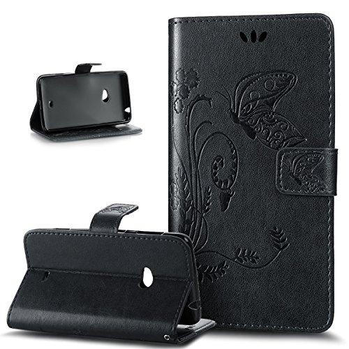 Kompatibel mit Schutzhülle Nokia Lumia 625 Hülle Leder Wallet Tasche Schutzhülle,Prägung Groß Schmetterling Blumen Muster PU Lederhülle Flip Hülle Cover Schale Ständer Wallet Hülle Schutzhülle,Schwarz