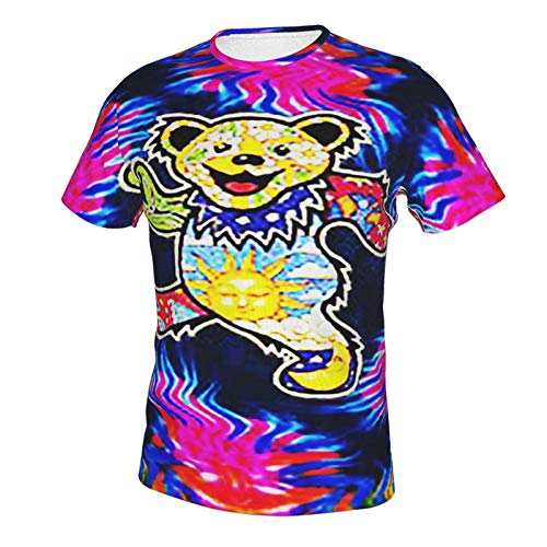 Camiseta de manga corta con cuello redondo y cuello redondo para hombre, diseño de oso espiral