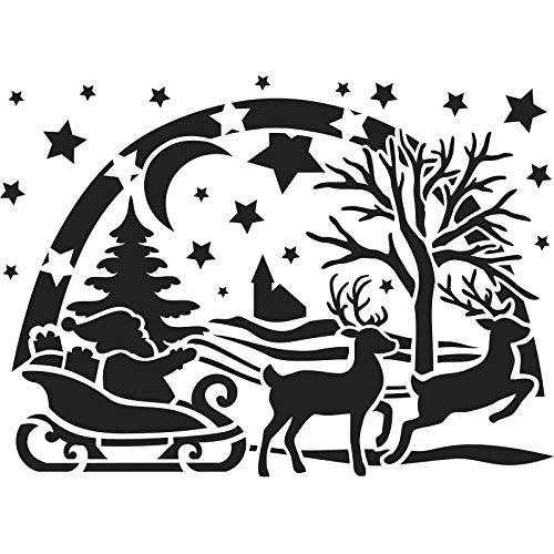 Laser-Kunststoff-Schablone | Fenster-Schablonen | DIN A4 | Weihnachten & Winter | ideal für Wandgestaltung, Textilien, Papier, Fensterbilder selber gestalten (Weihnachtsmann mit Schlitten)