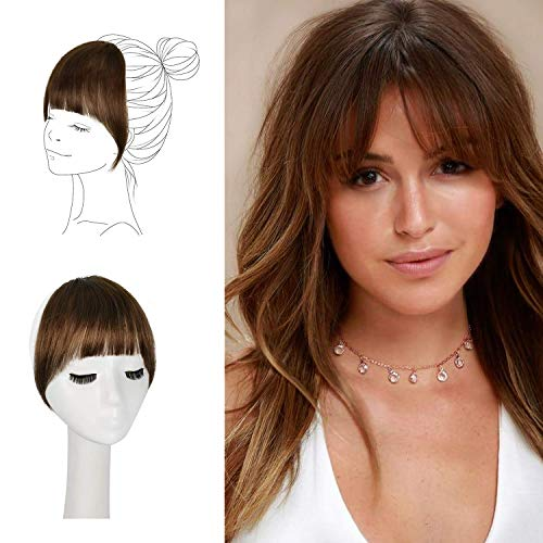 FESHFEN Clip in Bangs 100% Remy Echthaar One Piece Clip in Pony Fringe Bang Extension Verlängerung natürliche Haarteil für Frauen und Mädchen, 20g