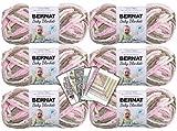 Bernat Baby Blanket Yarn - 6 Pack Bundle with Patterns (Little Petunias)