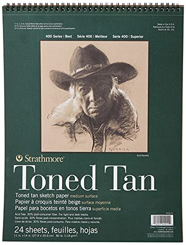 Strathmore STR-412-11 24 Sheet Toned Tan Sketch Pad, 11 by 14', Paper, 11'X14'