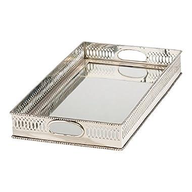 Ethan Allen Rectangular Mirrored Tray, Silver