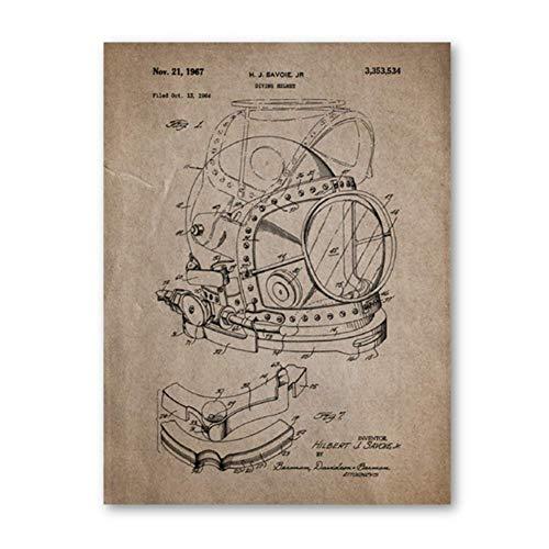 Gopfl Traje de Buceo Carteles Antiguos Imprimir Regalo de Bu