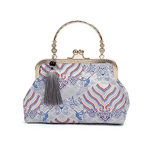 XHINB Neue chinesische Retro-Seide Bestickt Seide tragbare Umhängetasche Mutter Tasche mit Cheongsam Bankett Handtasche klein (grau)