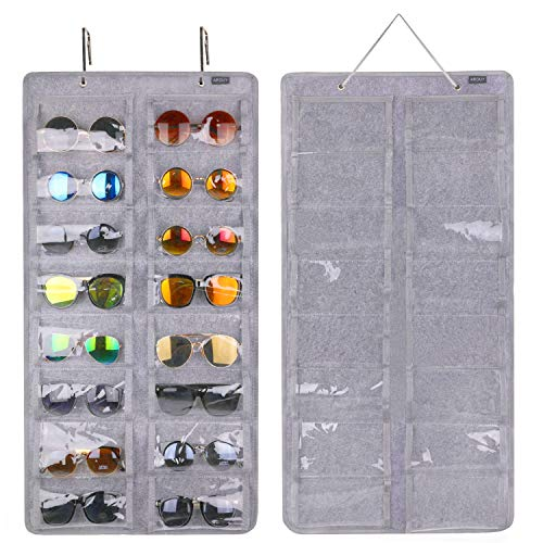 AROUY Sunglasses Organizer Storage, Hanging Dust Proof Wall Pocket Glasses Organizer - 16 Felt Slots Sunglass Organizer Holder with Metal Hook and Sturdy Rope (Gray, Dust Proof)