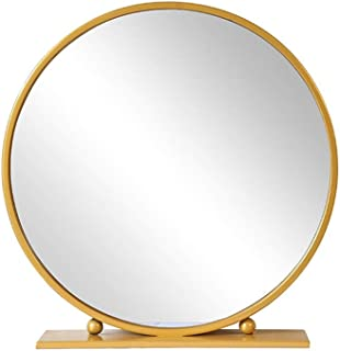 Qing MEI European-Style Large Vanity Mirror, Bedroom Desktop Mirror Round Princess Mirror HD Cosmetic Mirror (Gold) (Size : 70x70cm)