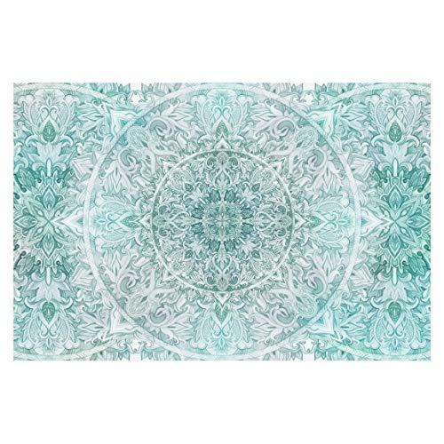 Fototapete - Mandala Aquarell Ornament Muster türkis - Breit 225 x 336cm