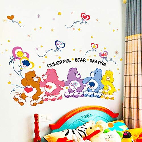 Muurstickers, creatief, kleurrijk, schattig, beer, ijs kunstschaatsen, dier-stickers, knutselen, wandstickers voor de kinderkamer, wandstickers voor de woonkamer, decoratieve stickers