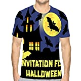 Shiyiqi2 Men's Short Sleeve T-Shirt Invitation Halloween Party Card Mix Bats Castle Moon Dark Dreamy