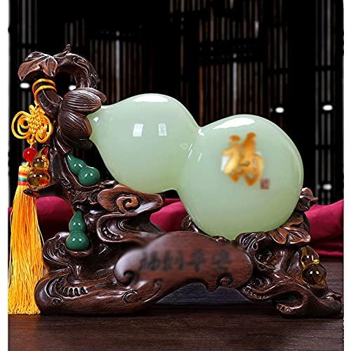 Tingting1992 Decoración de Escritorio Jade Gourd Decoration Feng Shui Atraer Wealth Buena Suerte Decoración del hogar Decoración de decoración Adornos Decoración de Escritorio Interior