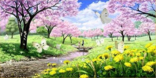 Mona Lisa クロスステッチ 刺繍キット 春爛漫 大樹桜満開 タンポポ 蝶々 桜公園風景 (150*80)