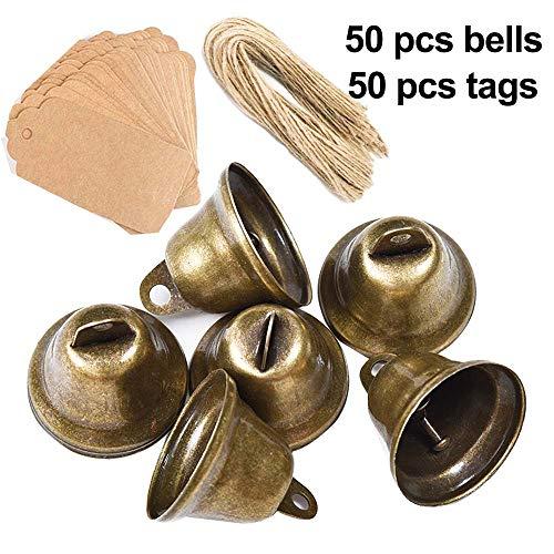 Awtlife - Juego de 50 cascabeles Vintage de Bronce con Etiqueta de Tarjeta para Crear campanillas de Viento,...
