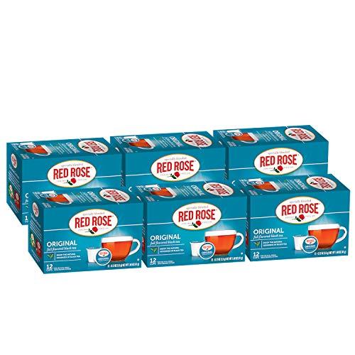 Red Rose Teas Black Teas, 72 Single Serve Cups K-Cup Pods for Keurig Coffee Maker, Original Black