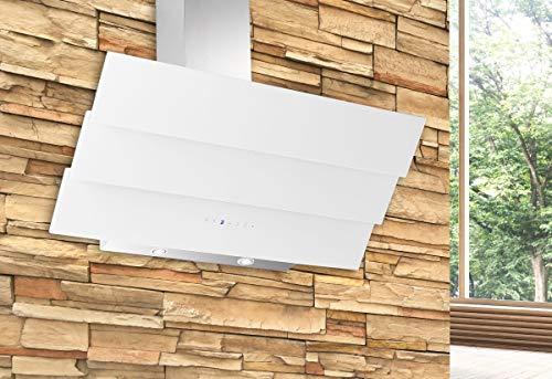 Dunstabzugshaube Wandhaube Kopffreihaube 850m³/h 60 cm Abzugshaube 39 Edelstahl Wandhaube Kaminhaube Glas 2 X 3 W handelsübliche LED separat zuschaltbar 3 Leistungsstufen Umluft Abluft