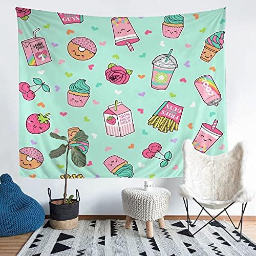 Tapiz de dibujos animados para niñas y niños Donuts manta de pared caprichosa postre colgante de pared decoración amor impresión ropa de cama manta verde grande 122 x 189