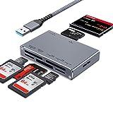 7 en 1 Lector Tarjetas SD USB 3.0, ceuao Lector de Tarjetas Externo superrápido, Carcasa de Aluminio, Multi Lector Micro SD Leer Simultánea TF, SDXC, MMC, MS, M2, CF, para PC, PS4, iMac,etc