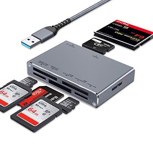 ceuao Lettore Schede SD USB 3.0, 7-in-1Card Reader, Legge contemporaneamente 5 Schede, Adattatore SD USB Supporta Micro SD/TF/CF/MS/MSXC/MMC ECC, Lettore Scheda SD Compatibile con Windows, OS