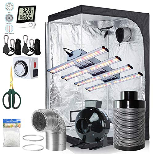BloomGrow 1200W LED Full Spectrum Professional Grow Light Strips + 48''x48''x80'' 600D Mylar Grow Tent Room + 6'' Inline Fan Air Carbon Filter Ventilation System Indoor Plant Grow Tent Complete Kit