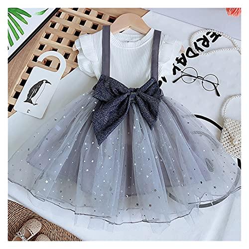 Youpin Conjuntos de ropa de verano para niñas princesa con manga volador+falda de malla de gasa con lazo grande, 2 piezas para bebés y niños (color: MX179 gris, talla para niños: 7)