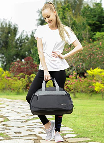 MIER 20 Inches Sports Gym Bag Travel Duffel Bag with Shoes Compartment for Women and Men(Black)