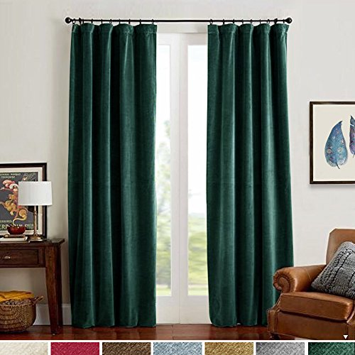 Lazzzy Blackout Velvet Curtains Green 84 inch Thermal Insulated Drapes for Living Dinning Room Darkening Window Treatment Rod Pocket Back Tab Home Decor Set of 2 Panels