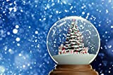AOFOTO 5x4ft Christmas Snow Globe Backdrop Xmas Trees Gifts Snowing Winter Blue Sky Crystal Ball Fairy Tale World Background Photography Kids Newborn Baby Shower Happy 1st Birthday Photobooth Props