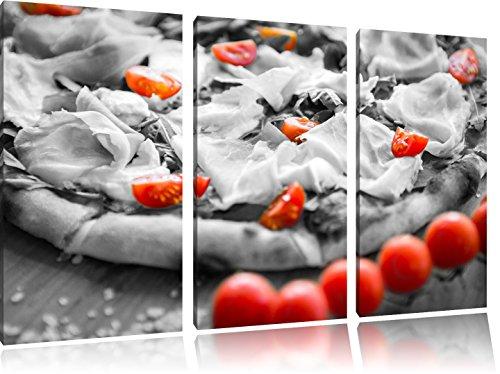 Pizza met ham en tomatenFoto Canvas 3 deel | Maat: 120x80 cm | Wanddecoraties | Kunstdruk | Volledig gemonteerd