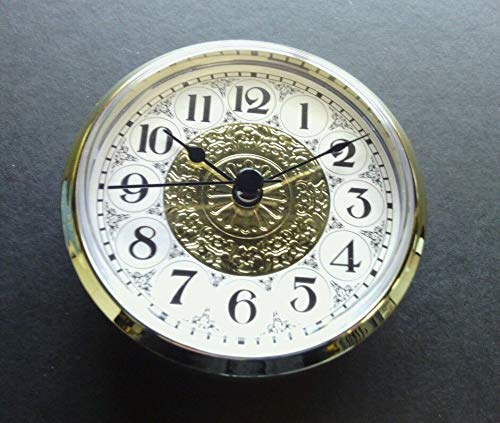Clock FIT UP Fancy FACE White & Gold, Clock Insert, 3 1/2' Dia, New, 333