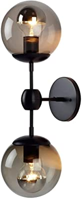 KBEST E27 Double Applique Boule en Verre Abat-Jour Lampe Murale Rétro Industrie Noir Fer Éclairage Mural pour Chambre À Coucher Couloir Max. 40 W 13 × 40 Cm sans Éclairage