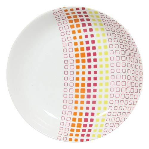 Novastyl - Piatto fondo in porcellana, D21,5 cm, a quadretti multicolore, set da 6 pezzi