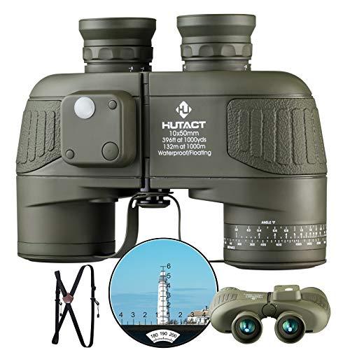 HUTACT 10X50 Potentes Binoculares Compactos para Adultos con TeléMetro Y BrúJula Iluminados para VisióN con Poca Luz, ObservacióN De Aves, Paseos En Bote, Safari Y Senderismo