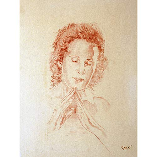 Salvador Dali Head Madonna Port Lligat Drawing Large XL Wall Art Canvas Print