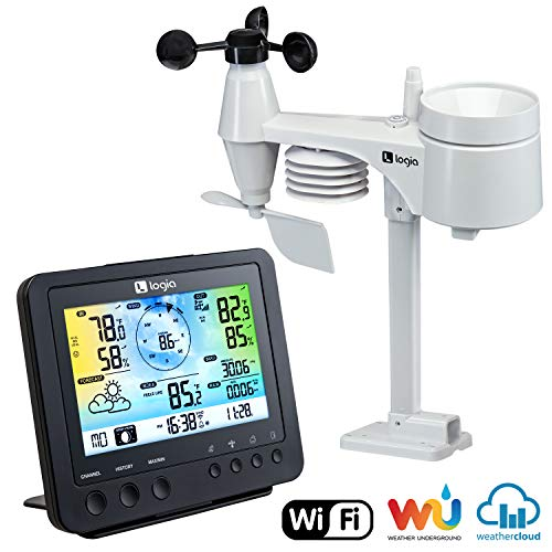 Logia 5-in-1 Wi-Fi Weather Station | Indoor/Outdoor Remote Monitoring System Reads Temperature, Humidity, Wind Speed/Direction, Rain & More | Wireless LED Color Console w/Forecast Data, Alarm, Alerts