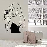 Adesivi Da Parete Creativo Fashion Art Bottiglia Di Vino Muro Di Vinile Donne Che Bevono Donna Vino Vetro Finestra Home Art Murales 90X65Cm
