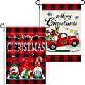 2 Pieces Christmas Garden Flags Buffalo Check Plaid Truck Flag Burlap Double Sided Yard Flag Xmas Outdoor Flag Winter Flag for Outside Holiday Home Decoration, 18 x 12 Inches