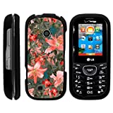 Snap On Compatible with LG Cosmos 3 VN251S Case, LG Cosmos 2 VN251 Slim Fit Snug Rubberized Custom Cover Shell Black by TurtleArmor - Pink Floral Burst