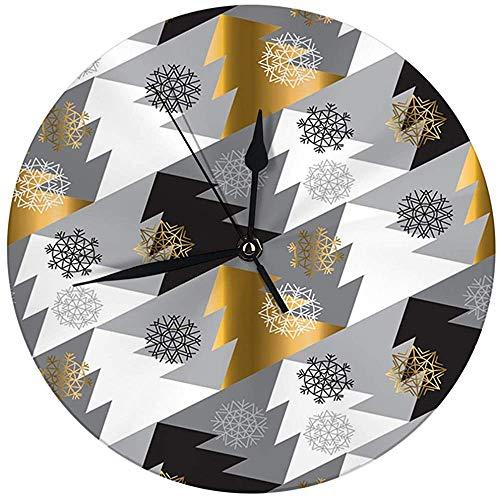 N/A Moderne decoratieve ronde wandklok elegante kerstboom naadloos geometriepatroon sneeuwvlokken op batterijen