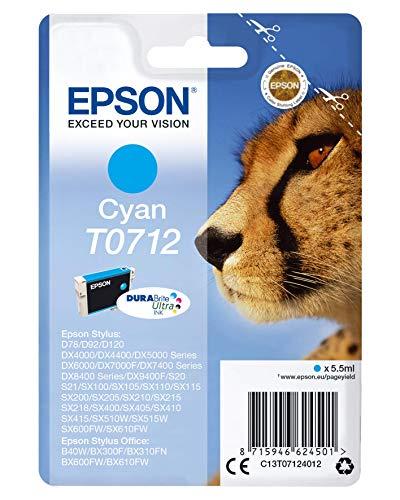 Epson Original T0712 Tinte Gepard, wisch- und wasserfeste (Singlepack) cyan
