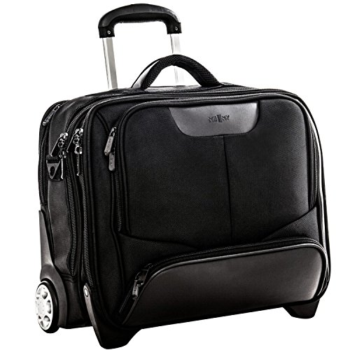 XXL Businesstrolley Trolley Borse Per PC Portatili Con Rotelle 17 Inch In Poliestere Nero